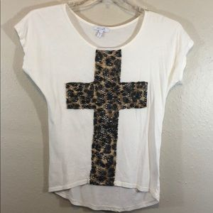Delia's White Shirt With Leopard Cross Size Small